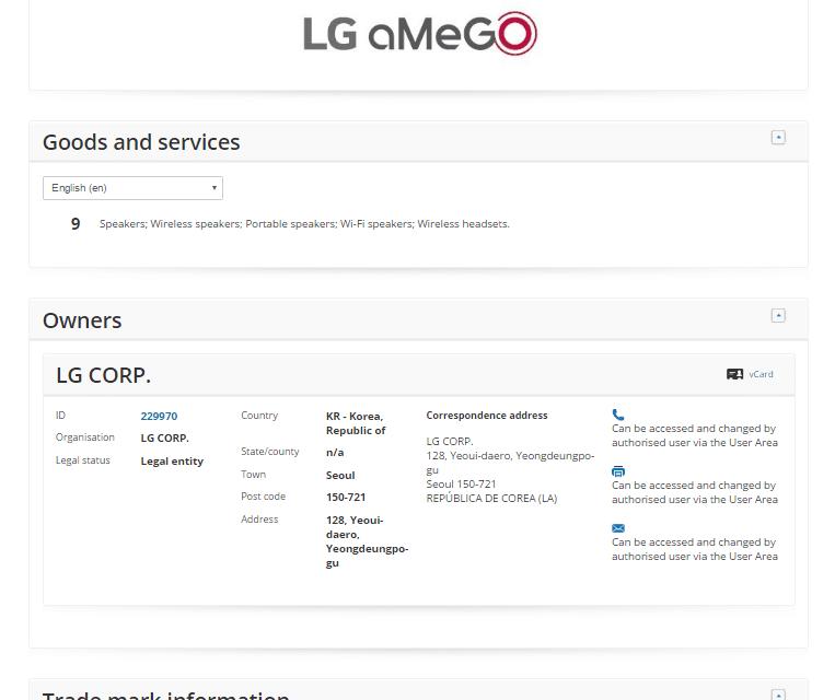 LG applies for LG Amego Tradmark LG @LG @LGUK Amego