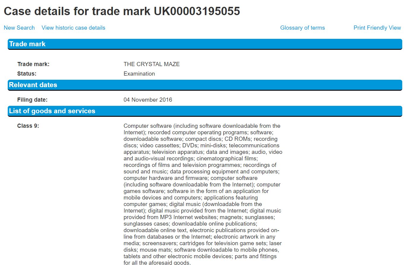 The Crystal Maze Uk Trademark Application Nov 2016 Crystalmaze