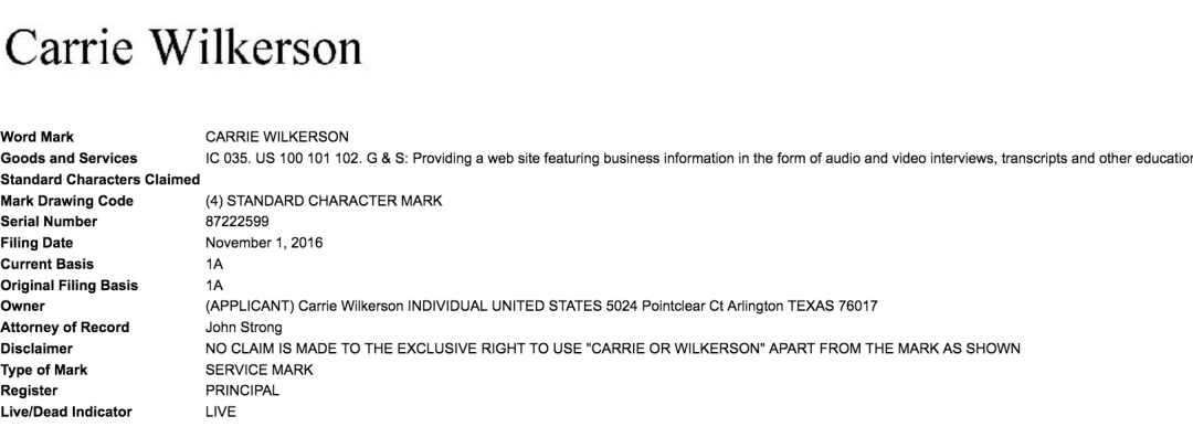 Web Guru Carriewilkerson Applies For Trademark For Her Name With The Us Patents Office What About Barefoot Exec Carriewilkerson