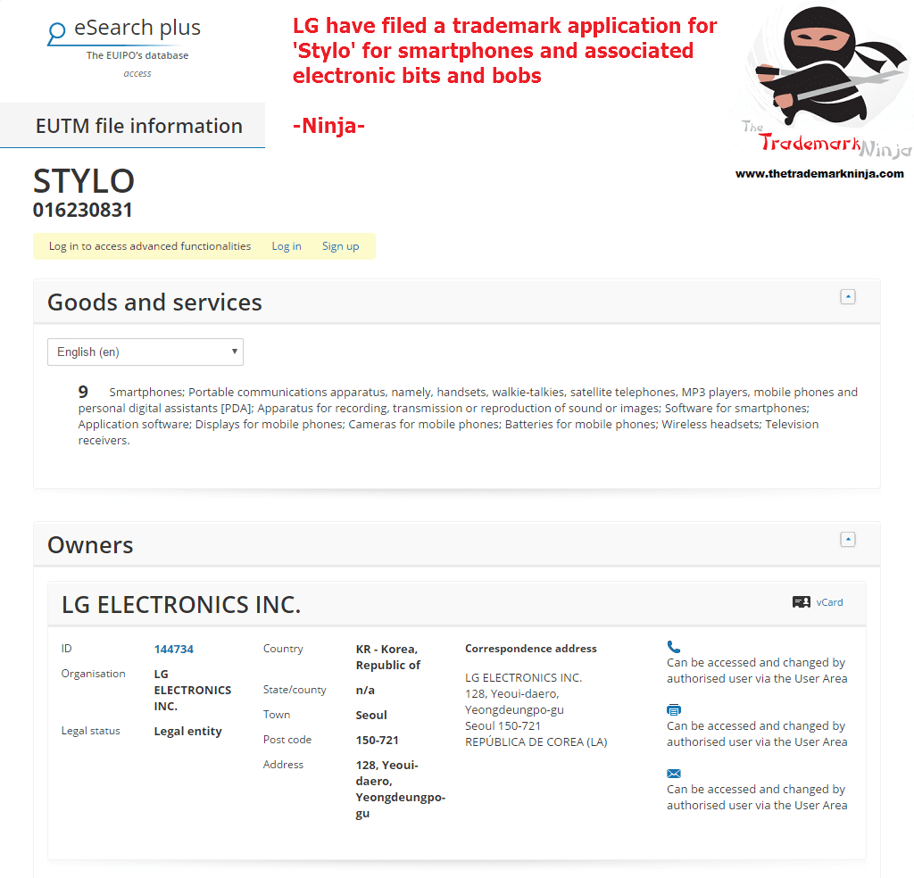 A trademark has been filed in the EU IPO for Stylo by <a href=http://twitter.com/LG target=_blank rel=nofollow data-recalc-dims=1>@LG</a> LG STYLO LGSTYLO