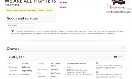 An EU Trademark application by @UFC for WeAreAllFighters