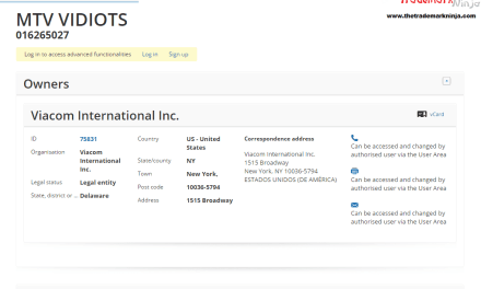 An EU Trademark application has been filed by @MTV for MTVVidiots Vidiots