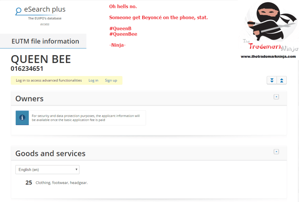 An EU trademark application has been lodged for clothes under the brand QueenBee QueenB <a href=