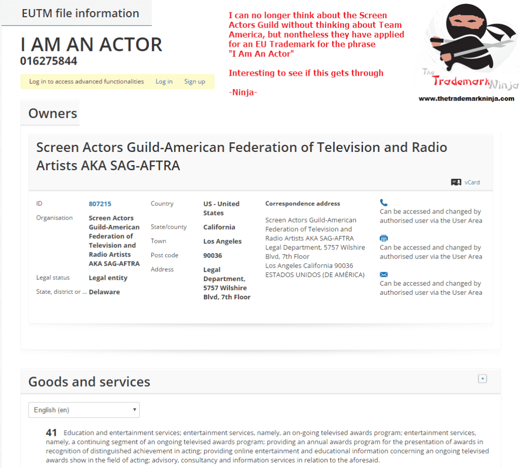 An EU trademark has been filed by the ScreenActorsGuild for IAmAnActor