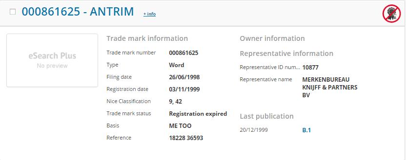 Antrim Trademark Details