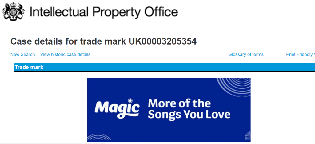 Bauer Radio in the UK applies for this logo for its Magic brand <a href=