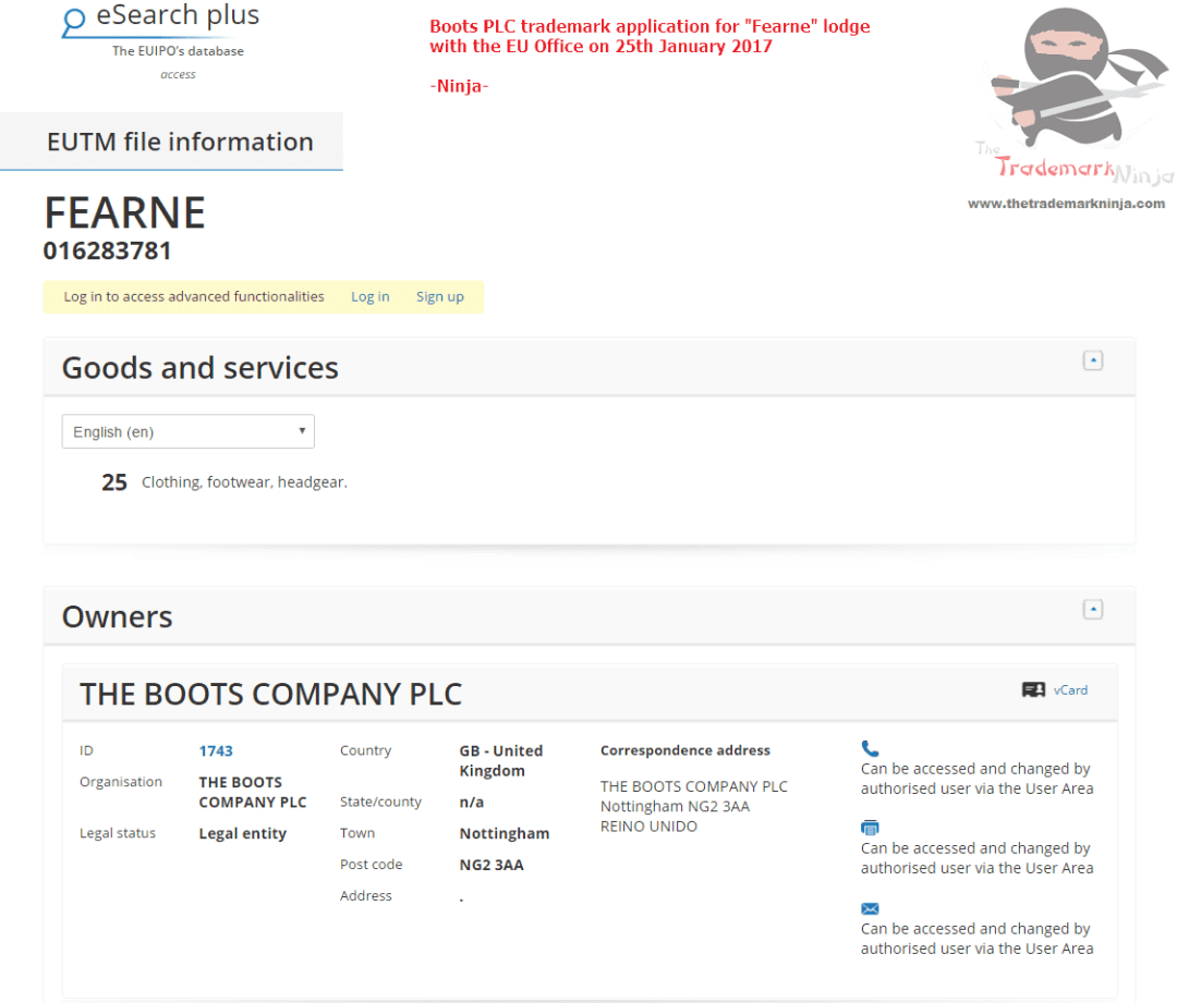 EU Trademark Application - Fearne Cotton Boots Range - TM Application 1