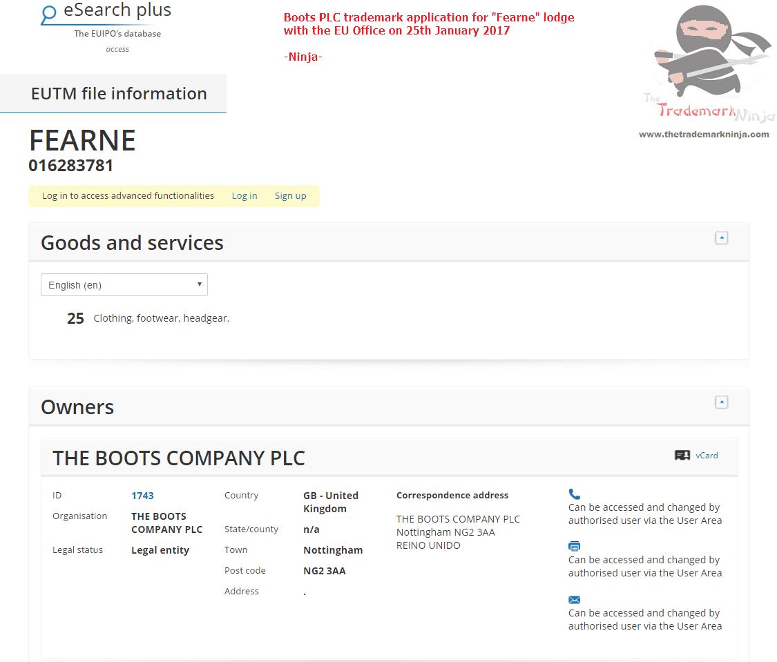 EU Trademark Application - Fearne Cotton Boots Range - TM Application 1
