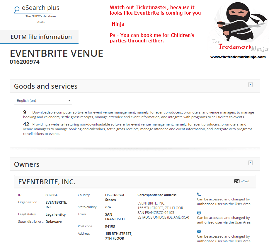 Eventbrite applies for EU trademark for EventbriteVenue <a href=