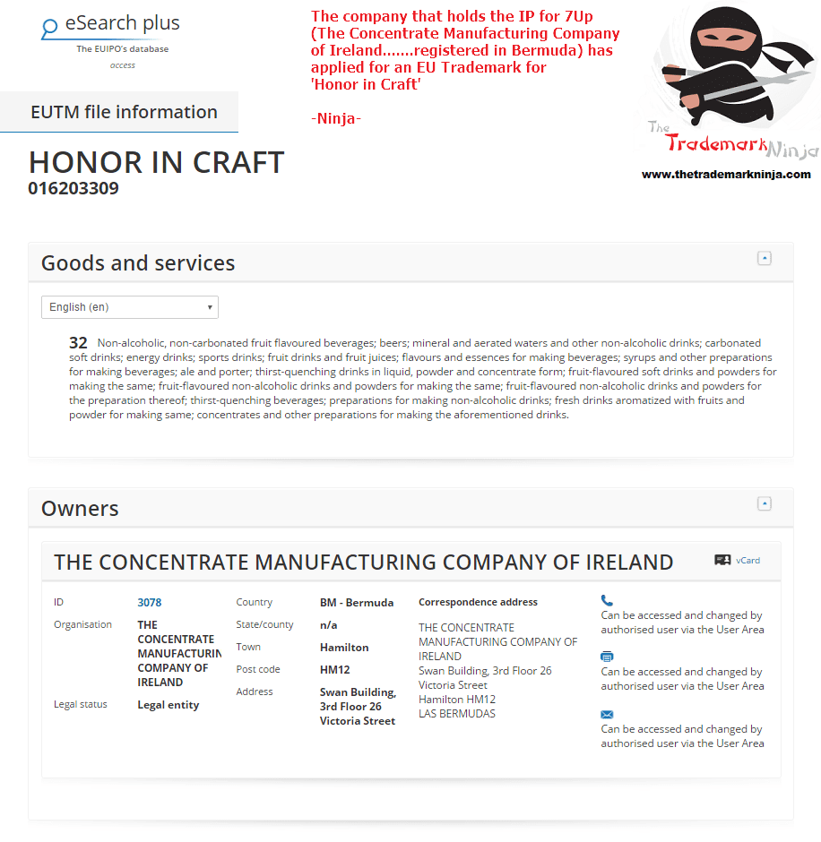 I wonder will they apply for Honour in Craft as well 7Up Owner applies for HonorInCraft trademark