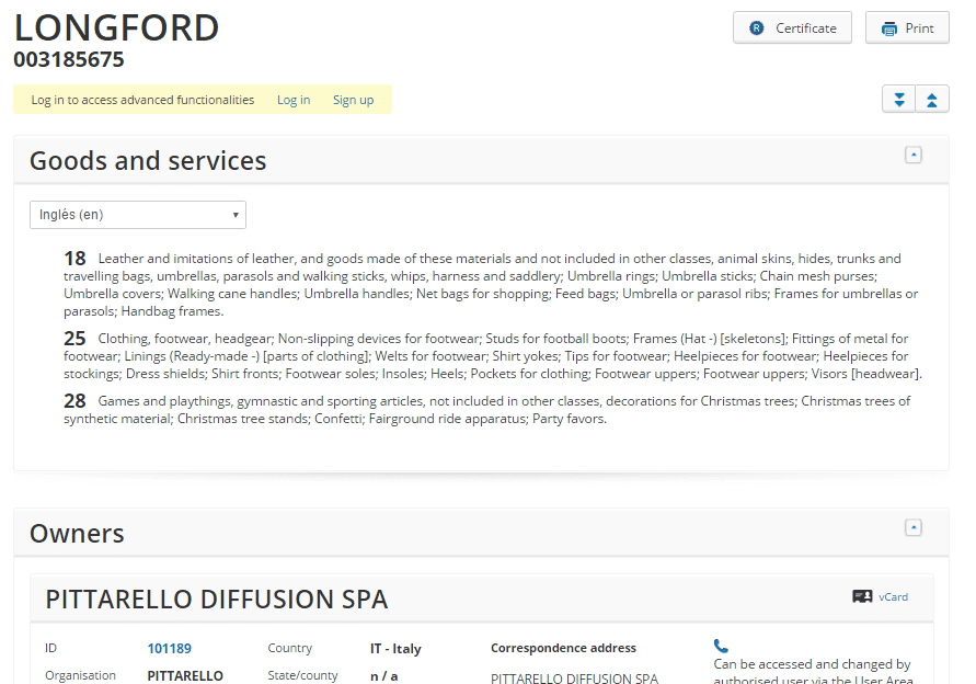 Longford Trademark Details