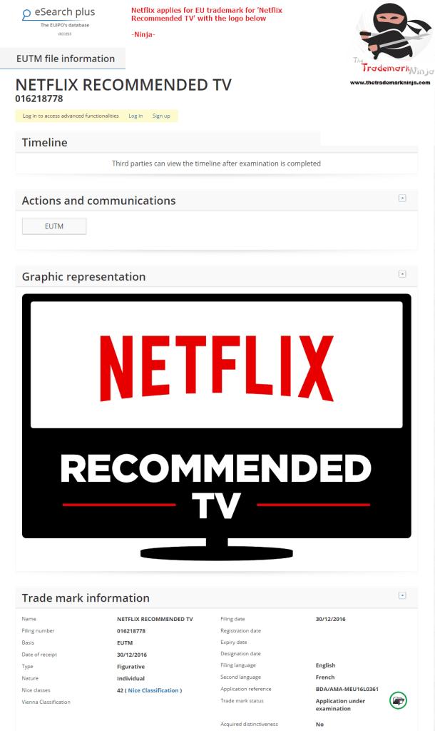 Netflix applies for an EU Trademark for Netflix Recommended TV <a href=http://twitter.com/Netflix target=_blank rel=nofollow data-recalc-dims=1>@Netflix</a> Netflix