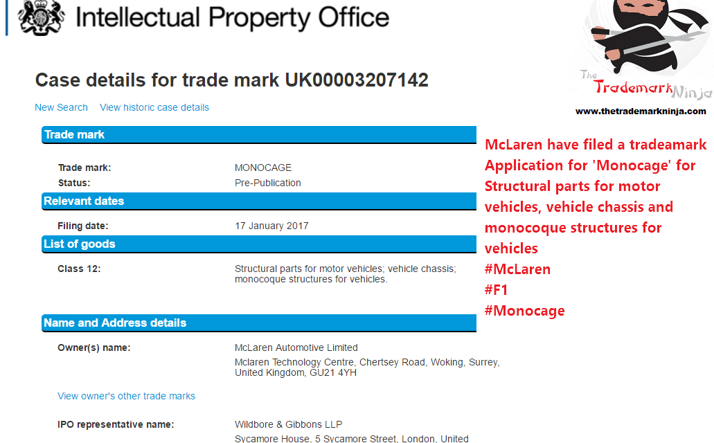 So @McLaren have lodged a UK trademark application for Monocage for Monocoque structures for vehicles McLaren
