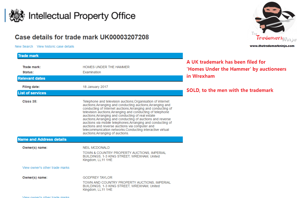 Trademark filed in the UK for HomesUnderTheHammer TrademarkUK Sold