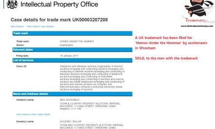Trademark filed in the UK for HomesUnderTheHammer TrademarkUK Sold