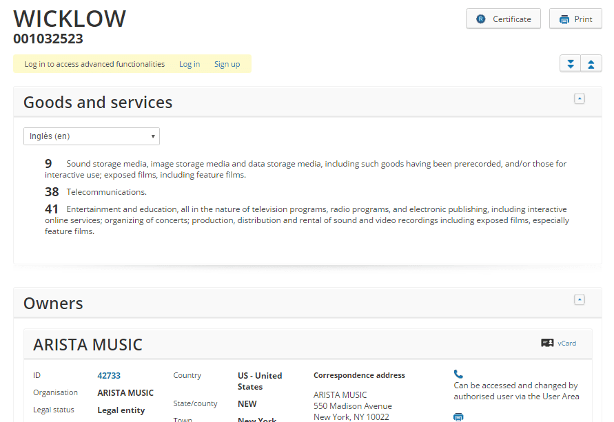 Wicklow Trademark For Arista Music