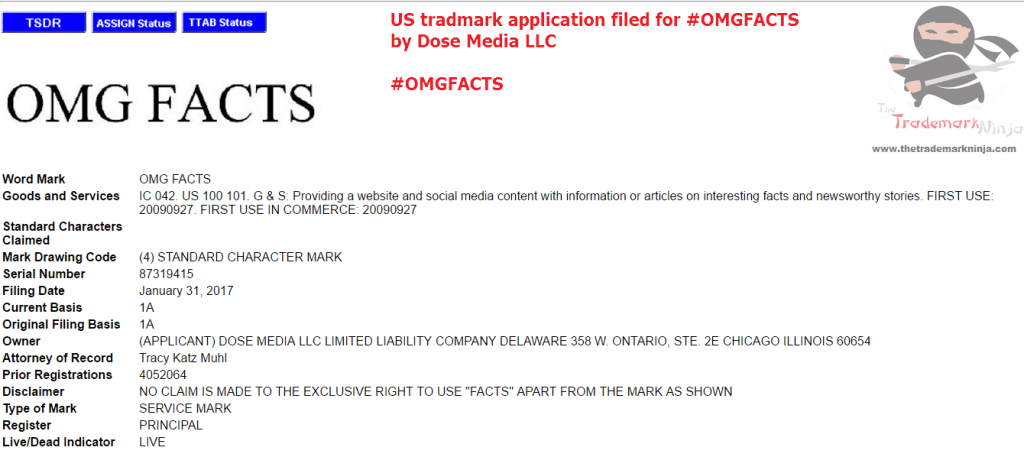 A US Trademark application has been filed for OMGFacts <a href=
