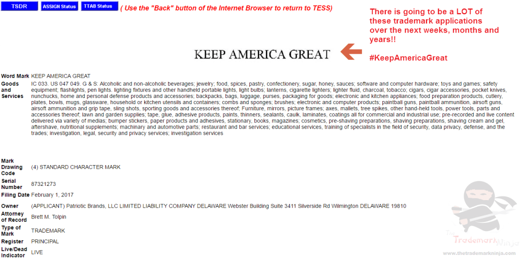 Another KeepAmericaGreat trademark application