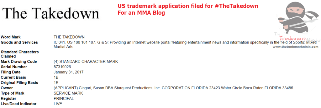Another trademark application for an MMA blog this time for TheTakedown