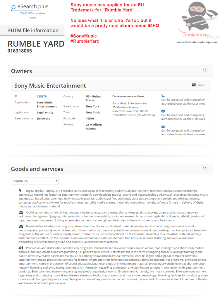 EU Trademark for Rumble Yard filed by <a href=