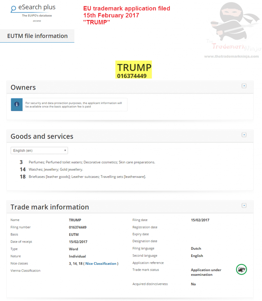 EU trademark application for Trump filed in the EU for various goods and services on 15th Feb 2017