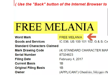 Free Melania Trademark – US Trademark for crowdsourcing for #FreeMelania campaign