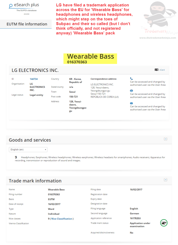 LG have filed an EU trademark application for WearableBass Wearables LG <a href=http://twitter.com/LG target=_blank rel=nofollow data-recalc-dims=1>@LG</a> <a href=http://twitter.com/Subpac target=_blank rel=nofollow>@Subpac</a> Subpac