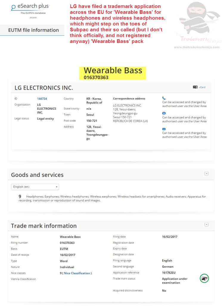 LG have filed an EU trademark application for WearableBass Wearables LG <a href=http://twitter.com/LG target=_blank rel=nofollow data-recalc-dims=1>@LG</a> <a href=http://twitter.com/Subpac target=_blank rel=nofollow>@Subpac</a> Subpac