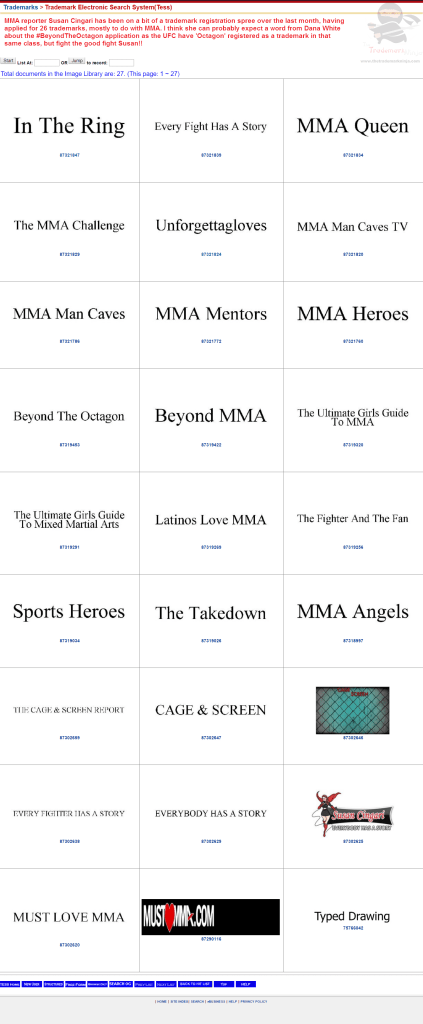 MMA reporter <a href=http://twitter.com/SusanCingari target=_blank rel=nofollow data-recalc-dims=1>@SusanCingari</a> has applied for 26 MMA related trademarks in just over a month <a href=http://twitter.com/ufc target=_blank rel=nofollow>@ufc</a> UFC
