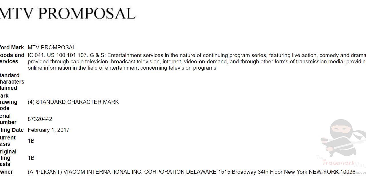 MTV Promprosal Tradmark Application USPTO Trademark PromProsal