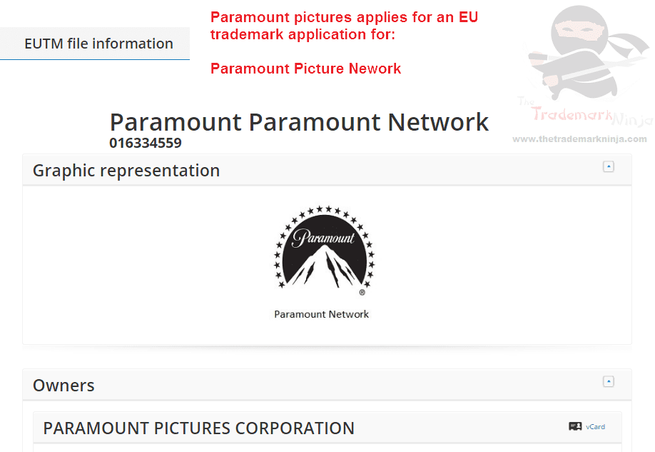 Paramount Pictures applies for an EU Trademakr for Paramount Network <a href=