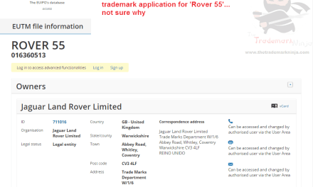 Rover 55 trademark filed in the EU by @landrover @jaguar Rover55 Rover LandRover Jaguar