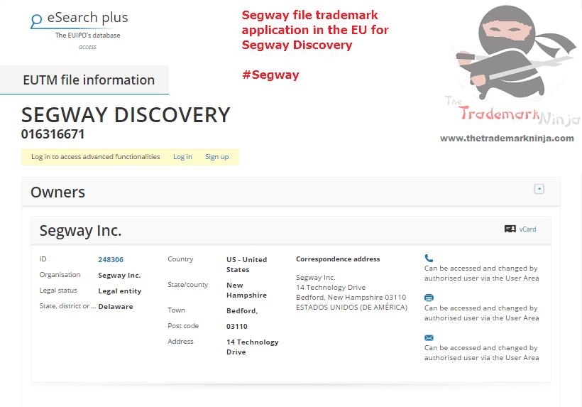 Segway file an EU trademark forSegwayDiscovery <a href=