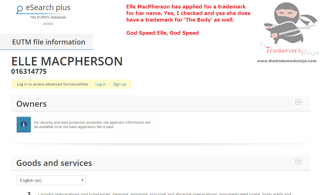 Superstar Model Elle MacPherson has applied for an EU trademark for ElleMacPherson