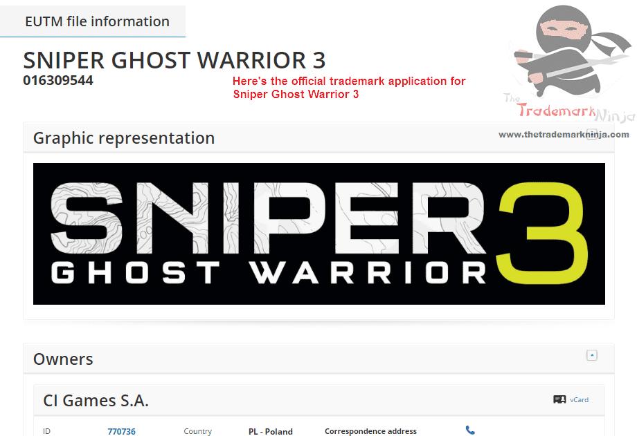 The Official EU Trademark for Sniper GhostWarrior 3