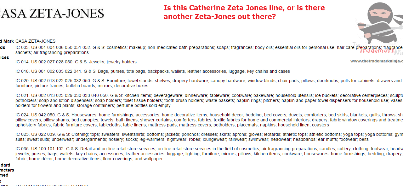 Trademark for CasaZetaJones filed with the USPTO ZetaJones