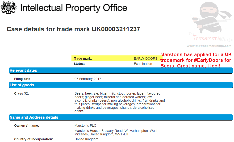 UK Trademark application by <a href=http://twitter.com/Marstons target=_blank rel=nofollow data-recalc-dims=1>@Marstons</a> for EarlyDoors as the name of a beer