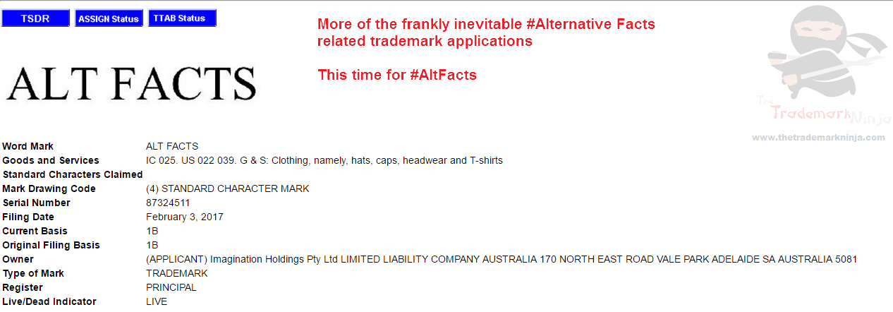 US Trademark AltFacts trademark application filed by company for clothes