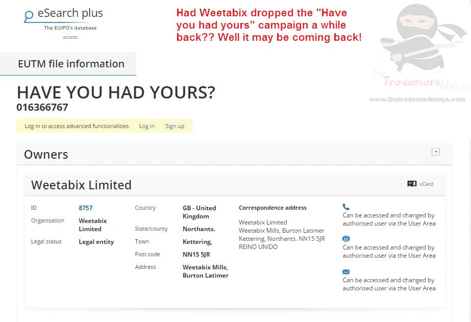 Weetabix applies for EU trademark for HaveYouHadYours @Weetabix Weetabix