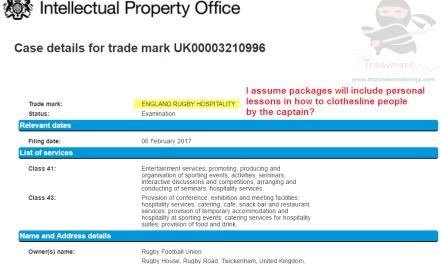 the @RFU applies for a UK trademark for EnglandRugbyHospitality Rugby RFU