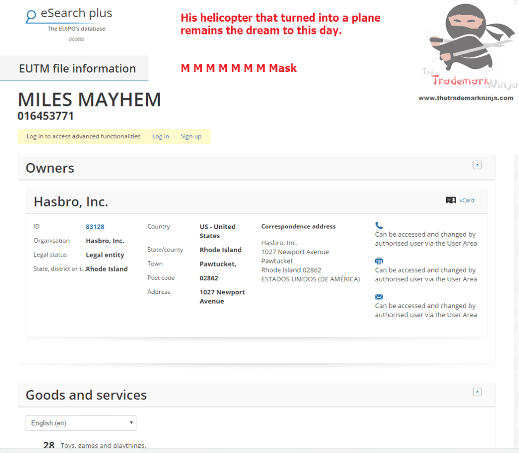 Another MASK trademark application from <a href=http://twitter.com/Hasbro target=_blank rel=nofollow data-recalc-dims=1>@Hasbro</a> this time for MilesMayhem Hasbro