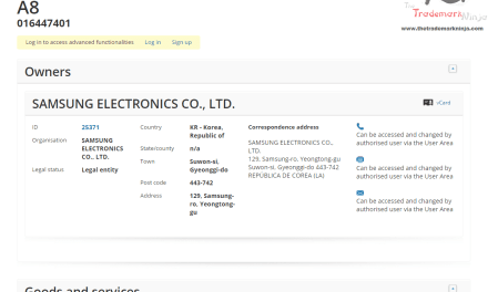 EU Trademark application filed by @samsung for A8 samsung