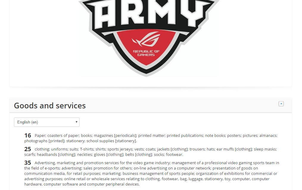 EU trademark application filed by @AsusUSA for Army RepublicOfGamers ASUS