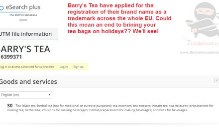 EU trademark application filed by @barrystea of EU trademark Barrys BarrysTea