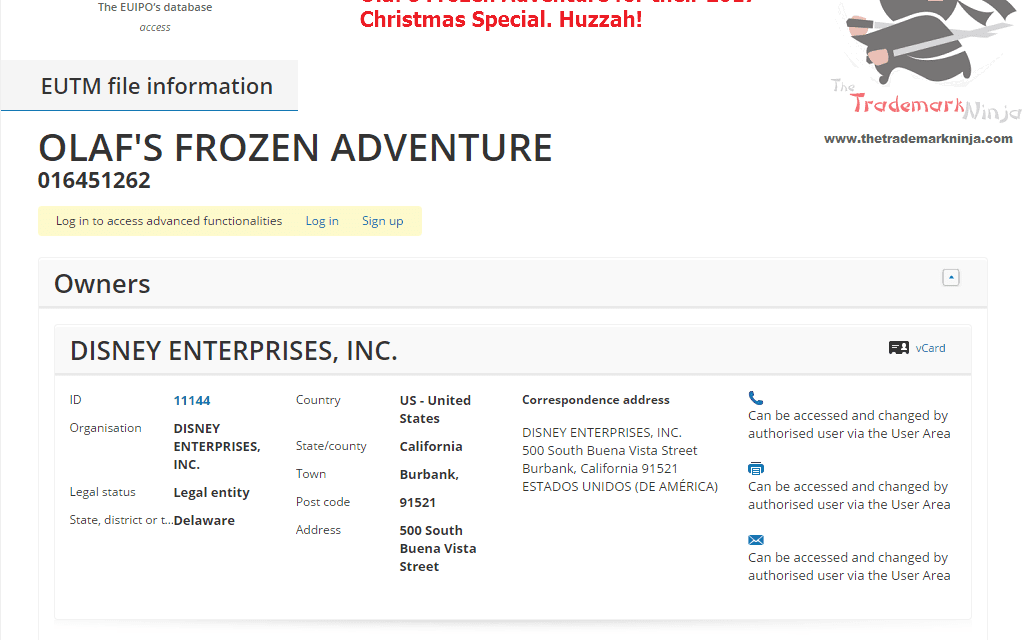 Happy Christmas everybody @Disney has lodged their EU trademark application for OlafsFrozenAdventure Frozen