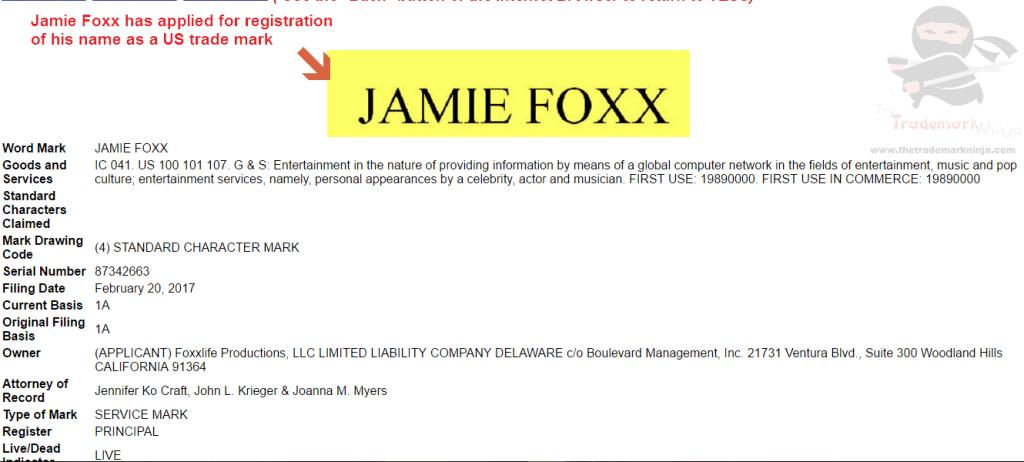 Jamie Foxx applies for trademark registration in the US JamieFoxx Trademark