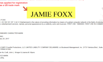 Jamie Foxx applies for trademark registration in the US JamieFoxx Trademark