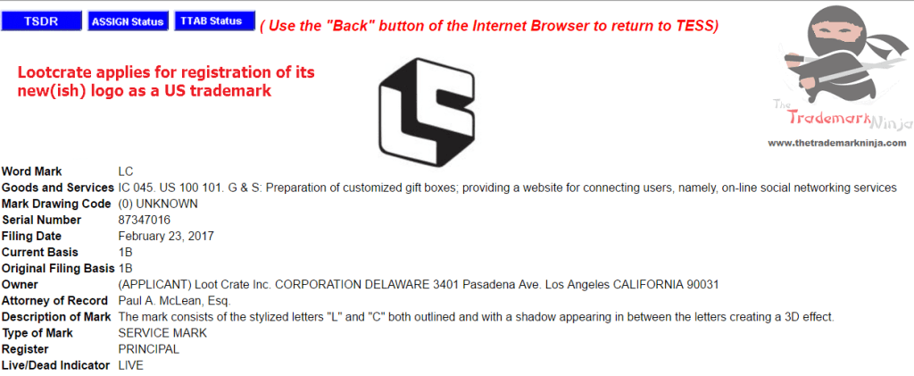 Lootcrate applies for registration of logo as US trademark <a href=http://twitter.com/LootCrate target=_blank rel=nofollow data-recalc-dims=1>@LootCrate</a> Lootcrate Trademark