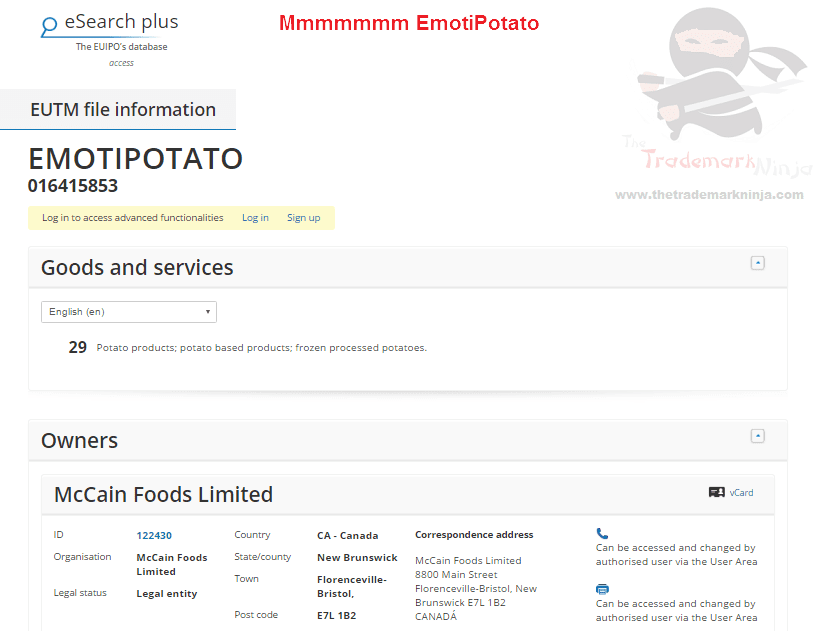 McCains have applied for an EU trademark for EmotiPotato McCains <a href=