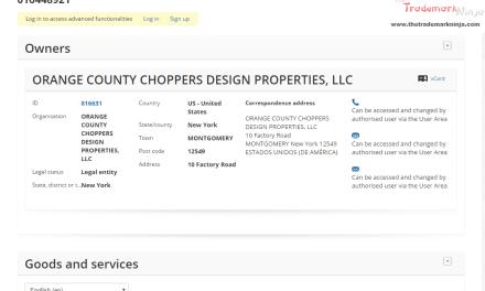 Orange County Choppers lodges EU trademark applciation for well Orange County Choppers OCC OrangeCounty